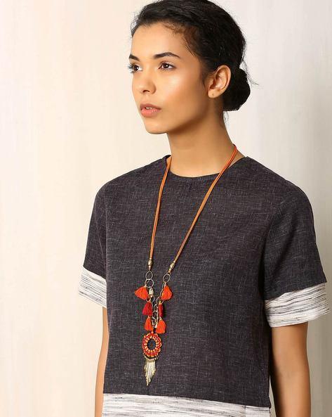 Beaded Long Necklace By Indie Picks ( Orange )