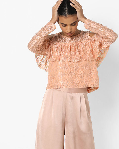 Floral Lace Top With Ruffles By Ginger By Lifestyle ( Pink )