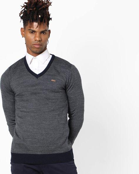 V-Neck Pattern Woven Sweater By PROLINE ( Navy )