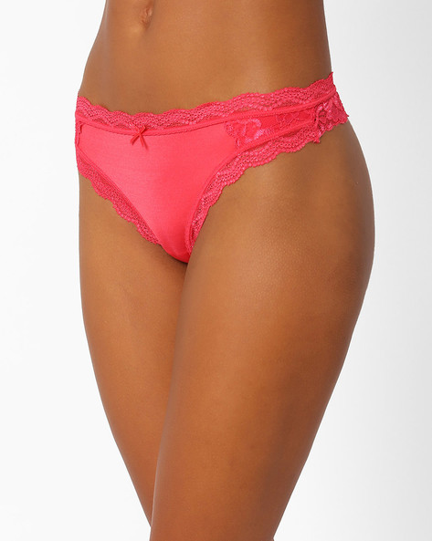 Panelled Lace Thongs By PrettySecrets ( Pink )