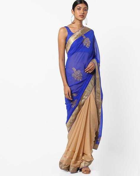 Embroidered Chiffon Saree By Vastrangi ( Blue )