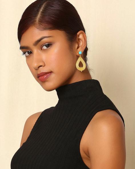 Gold Plated Brass Tear Drop-Earrings By Indie Picks ( Multi )