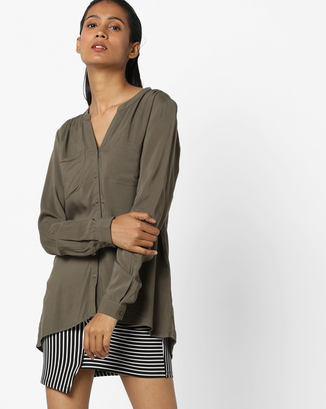 High-Low Shirt With Patch Pockets By Only ( Grey )
