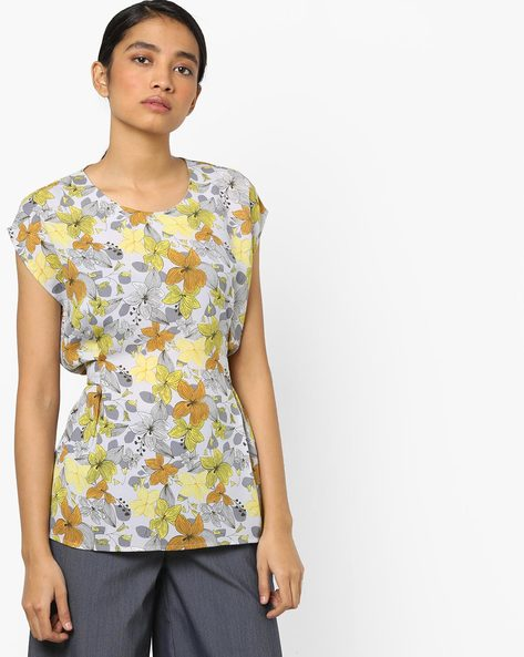Floral Print Top With Back Tie-Up By AJIO ( Green )