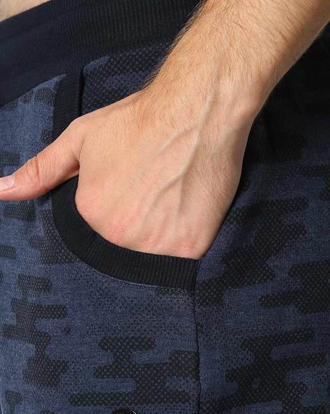 Drop-Crotch Camo Shorts With Tie-Up By PROLINE ( Darkblue )