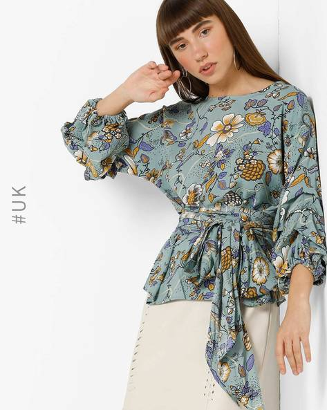 Floral Print Top With Waist Tie-Up By OEUVRE ( Blue )