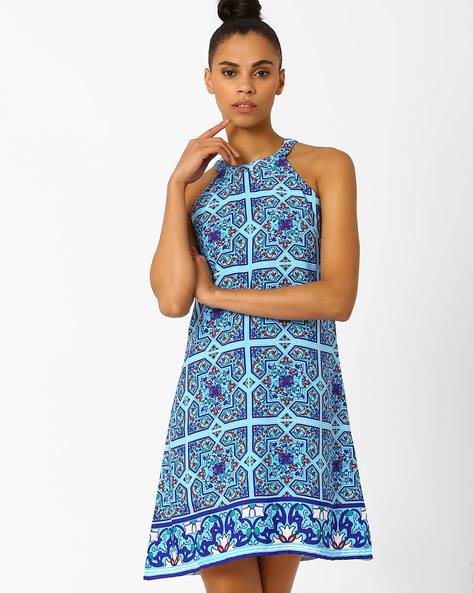 Tile Print Shift Dress By AJIO ( Blue )