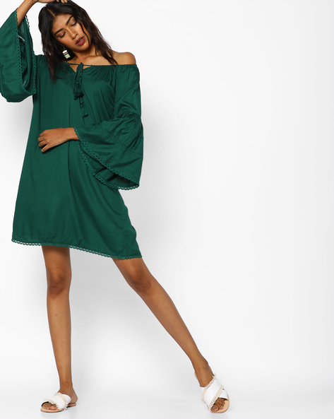 Off-Shoulder Shift Dress With Bell Sleeves By AJIO ( Green )