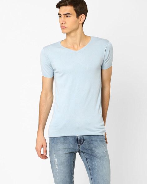 Slim Fit V-Neck T-shirt By Jack & Jones ( Blue )
