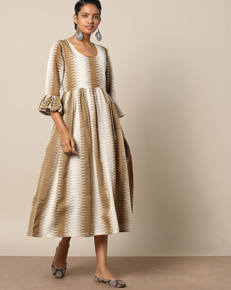 Cotton Fit & Flare Dress With Ikat Print By Indie Picks ( Brown )