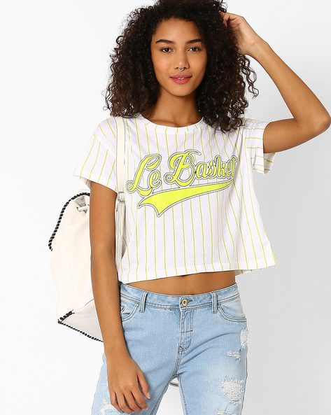Striped Crop Top By Vero Moda ( White )