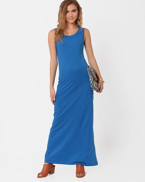 Sleeveless Maxi Dress By AJIO ( Blue )