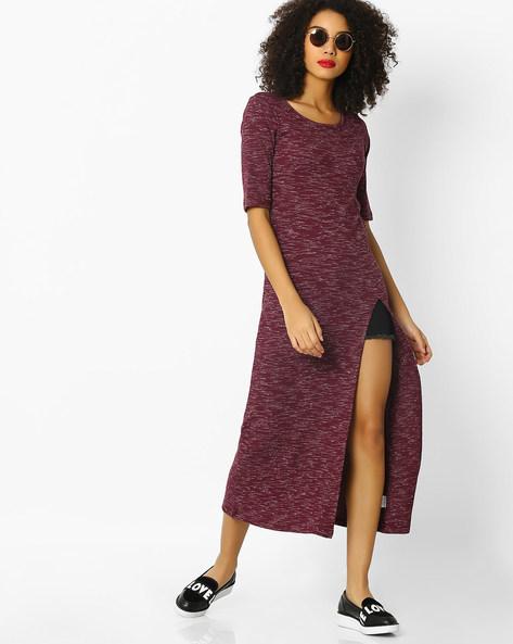 Heathered Midi Dress With Slit Hemline By DNMX ( Maroonburg )