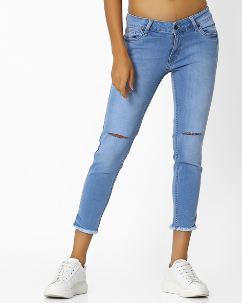 Lightly Washed Distressed Skinny Jeans By Pepe Jeans ( Blue )