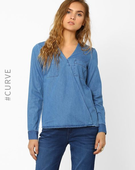 Overlapping Denim Top By AJIO ( Blue )