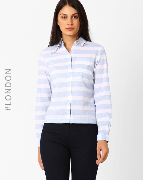 Cotton Bold Striped Shirt By Marks & Spencer ( Blue )