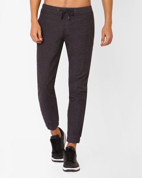 Joggers With Drawstring Waist By NETPLAY ( Charcoal )