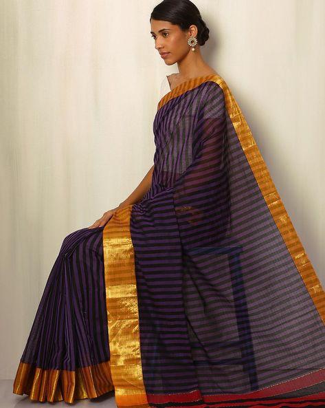 Mercerised Cotton Striped Saree With Zari By Indie Picks ( Purple )