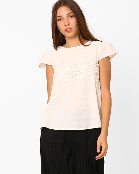 Cotton Top With Embroidered Eyelets By Rena Love ( Offwhite )