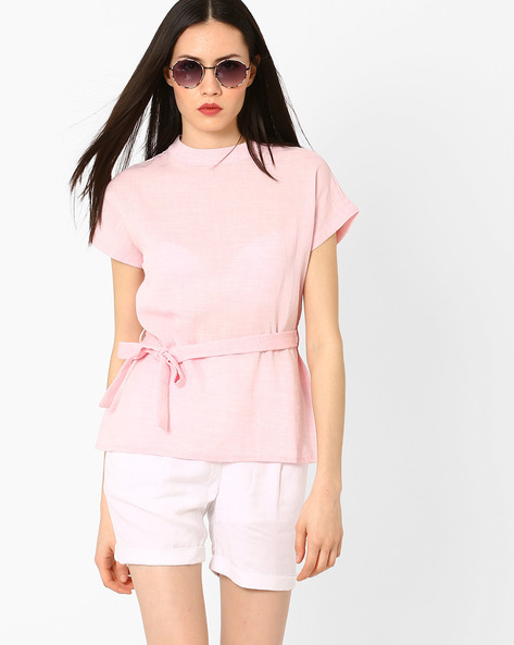 Mock-Neck Top With Waist Tie-Up By Vero Moda ( Lightpink )