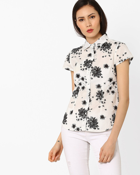 Floral Print Cotton Shirt By DNM X ( Offwhite )