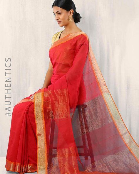 Bengal Handloom Jamdani Saree By Indie Picks ( Red )