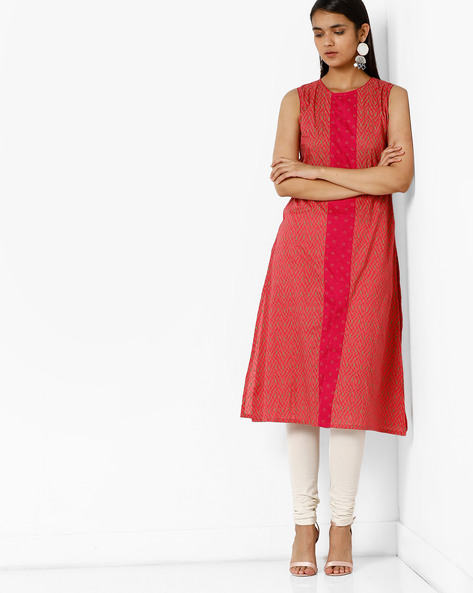 Sleeveless Printed Kurta By AJIO ( Olive )