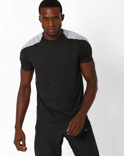 Printed Slim Fit T-shirt With Quick Dry By PERFORMAX ( Black )