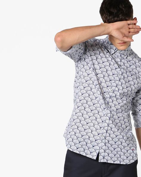 Printed Cotton Shirt By Jack & Jones ( White )