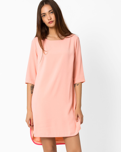 High-Low Dress With Back Cutout By AJIO ( Peach )