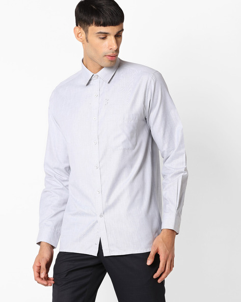 Regular Fit Shirt With Patch Pocket By VIMAL APPARELS ( Black )