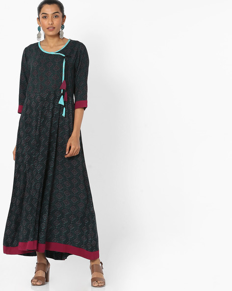 Block Print Maxi Dress With Tie-Up By Shree ( Green )