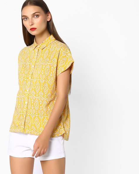 High-Low Printed Shirt By Pepe Jeans ( Yellow )