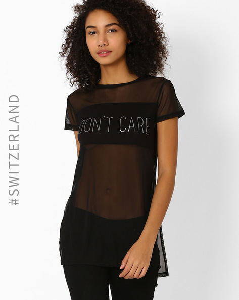 Knitted Mesh Top With Typographic Print By TALLY WEiJL ( Black )