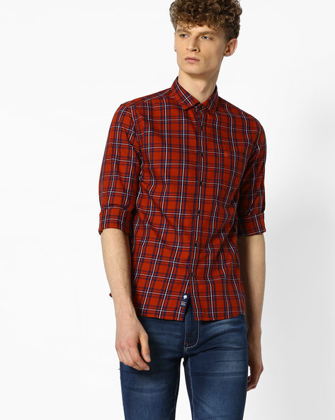 Checked Shirt With Curved Hem By NETPLAY ( Rust )