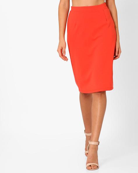 Pencil Skirt With Back Slit By AJIO ( Orange )