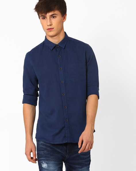 Linen Shirt With Patch Pocket By NETPLAY ( Navy )