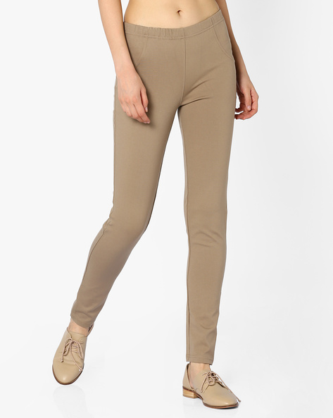 Flat-Front Trousers With Elasticated Waistband By And ( Beige )