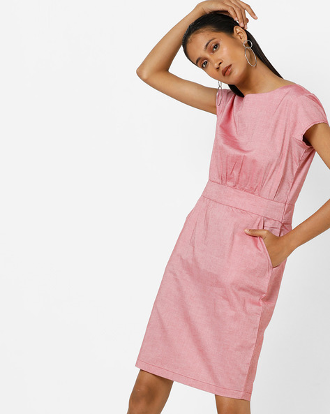 Sheath Dress With Insert Pockets By AJIO ( Red )