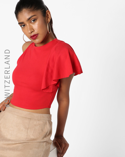 One Shoulder Crew-Neck Crop Top By TALLY WEiJL ( Red )