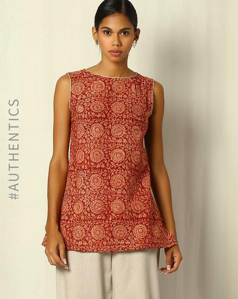 Kalamkari Handblock Print Sleeveless Top By Indie Picks ( Red )