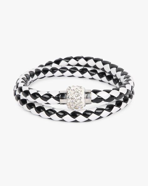 Braided Bracelet With Stone Embellishments By ALPHA MAN ( Blackwhite )