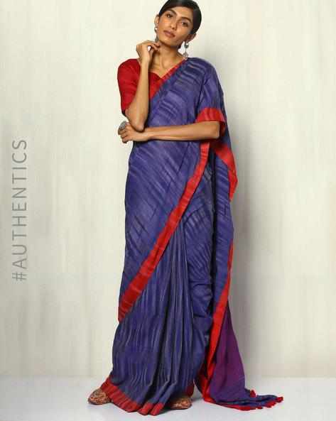 Handloom Bengal Cotton Herringbone Saree With Tassels By Indie Picks ( Blue )