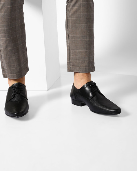 Textured Genuine Leather Derby Shoes By RED TAPE ( Black )
