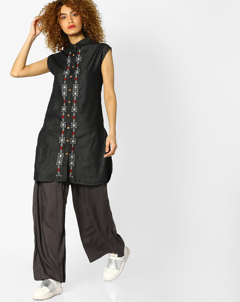 Denim Kurta With Embroidery By AJIO ( Black )