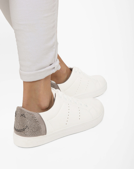 Lace-Up Sneakers With Embellished Panels By Truffle Collection ( Offwhite )