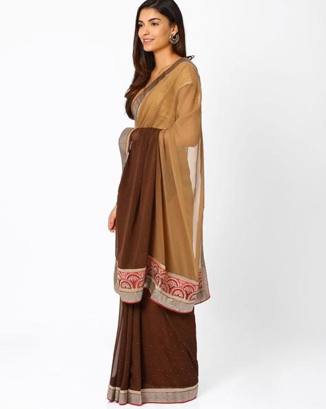 Embellished Georgette Saree By Vishal Prints ( Coffeebrown )