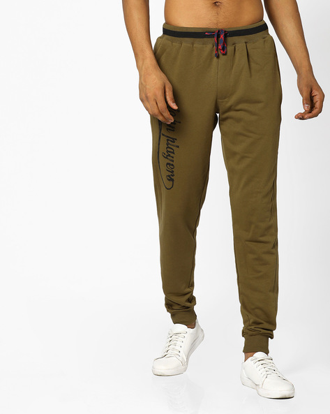 Slim Fit Cotton Joggers By JOHN PLAYERS ( Olive )