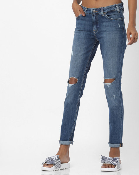 Skinny Distressed Jeans By LEVIS ( Blue )