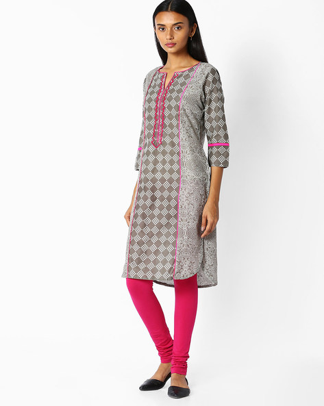 Printed Cotton Straight Kurta By Jaipur Kurti ( Grey )